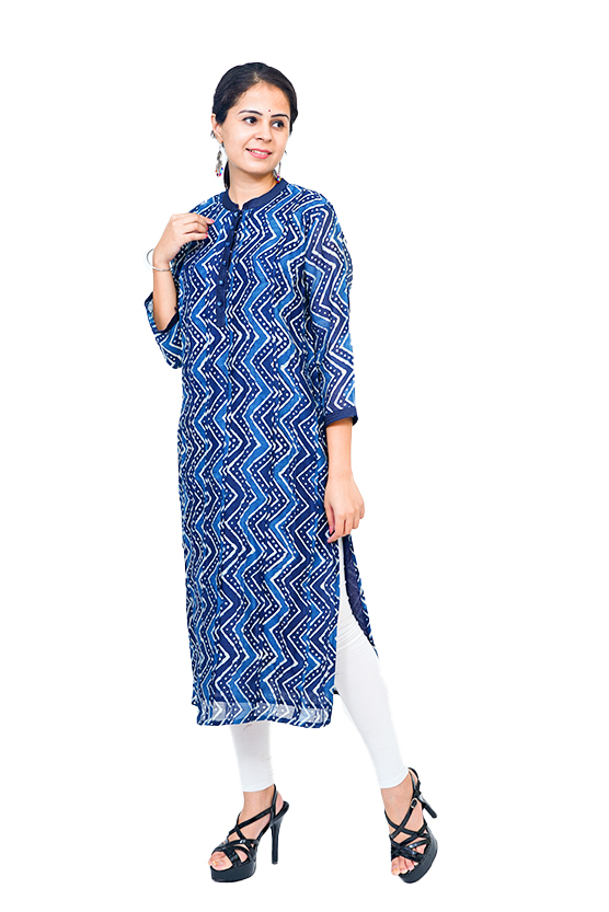 Indigo Chanderi Kurta with Dabu Print