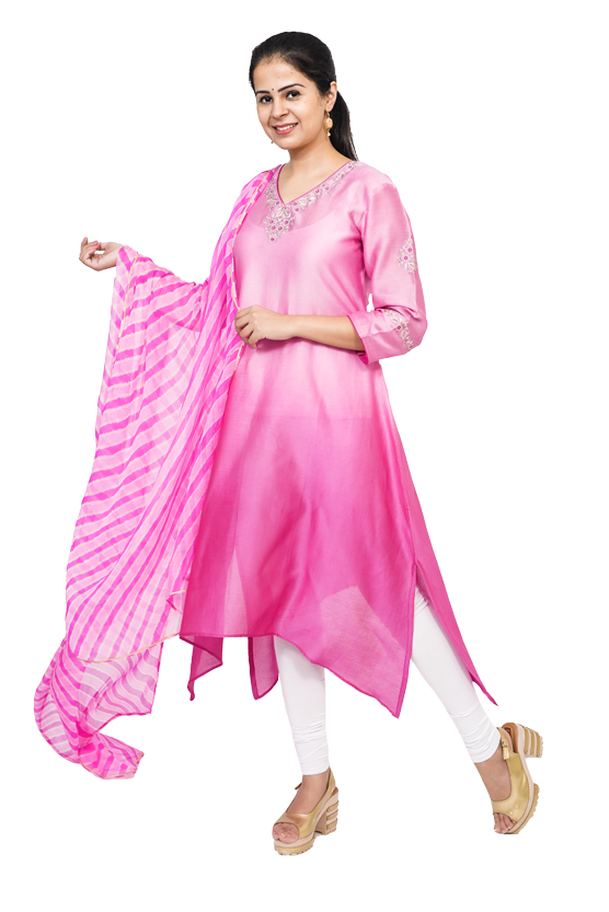 Pink Chanderi Kurta with Embroidery on Neck and Sleeve with  Chiffonlahariya Printed Dupatta.