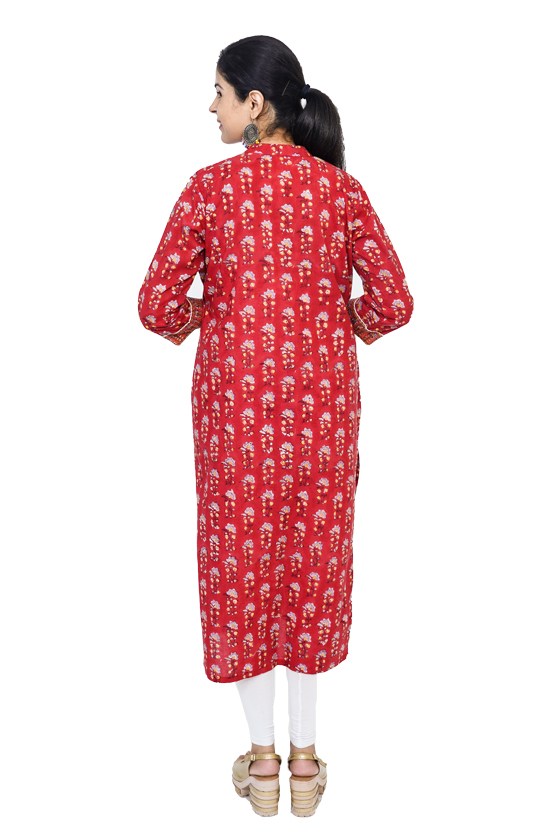 Cotton Red Color Kurta with Dabu Print