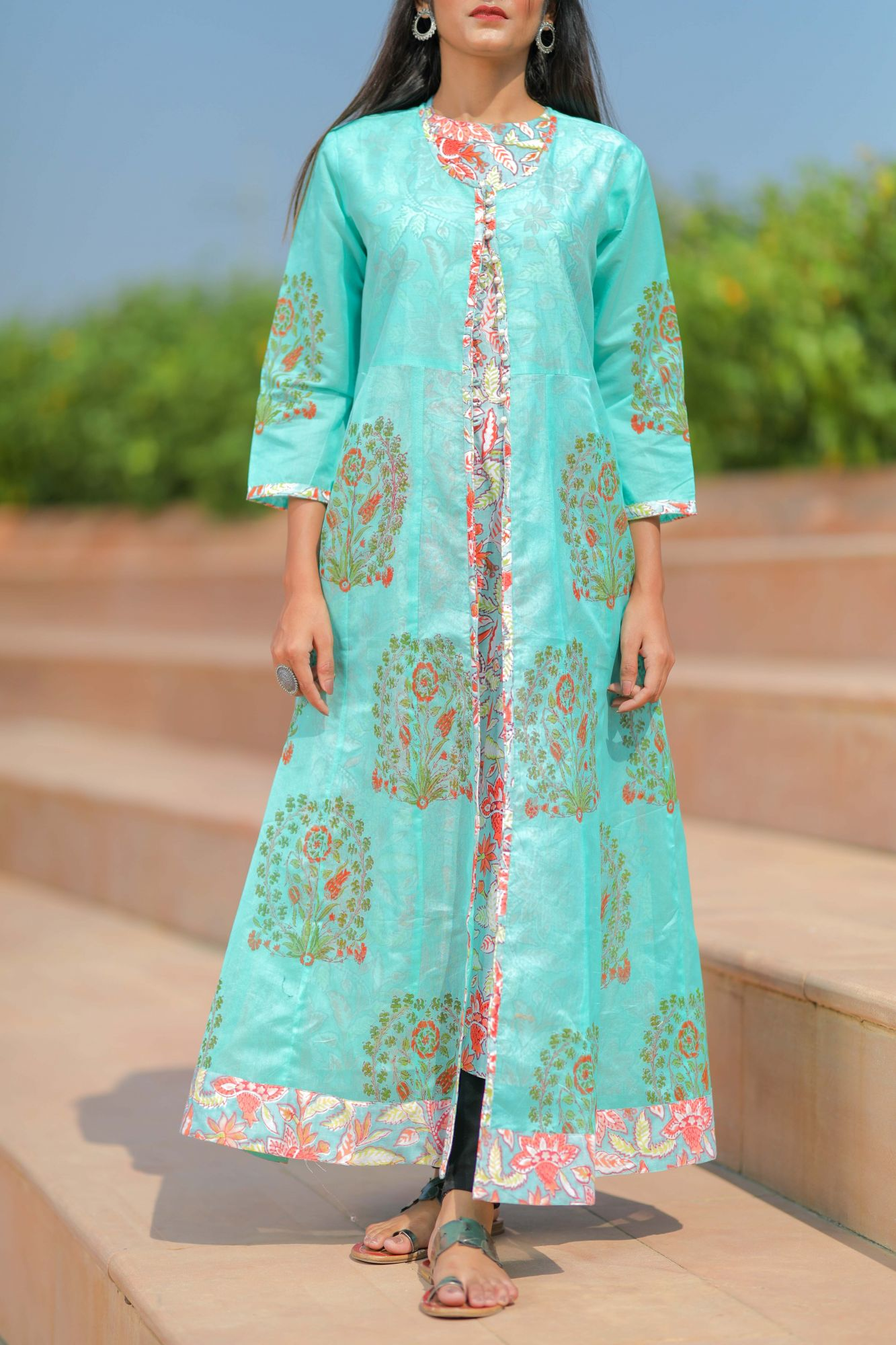 Blue Orange Double Layered Kurta