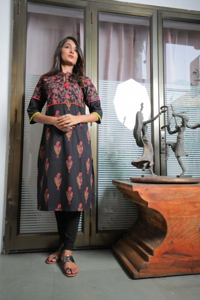 Black Pink Cotton Kurti