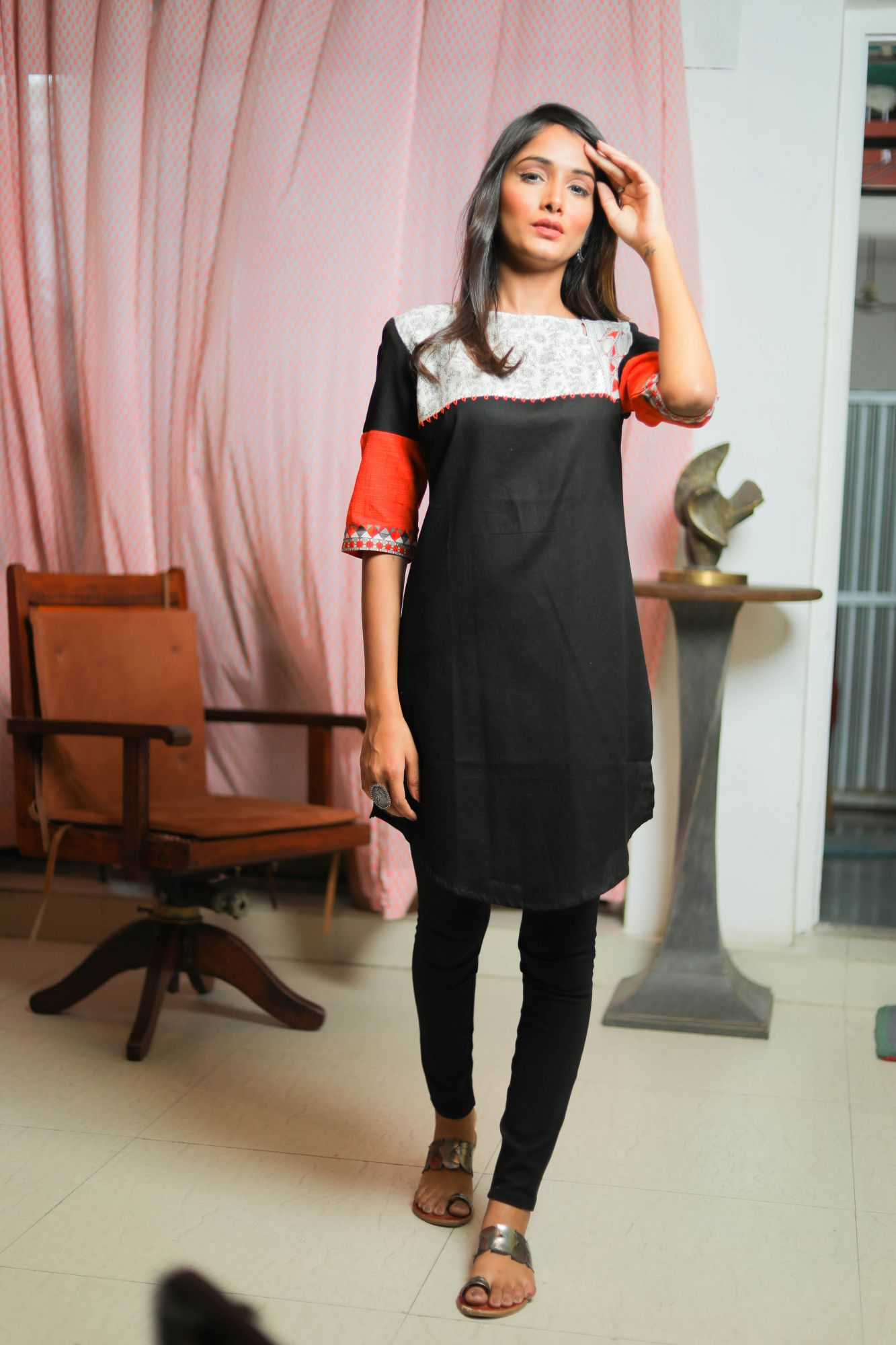 Black Orange Cotton Kurti