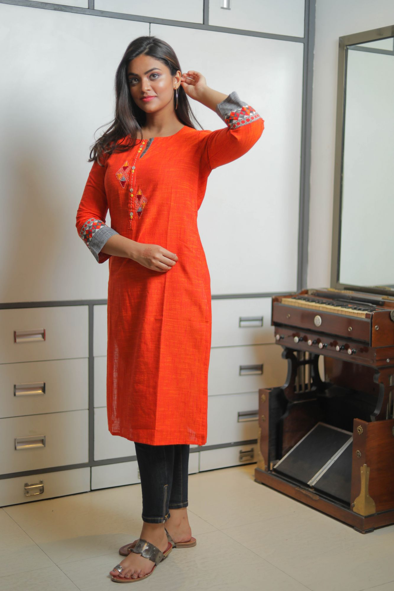 Orange Slate Embroidered Kurti