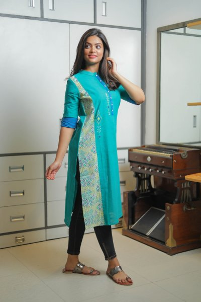 Bottle Green Embroidery Kurta