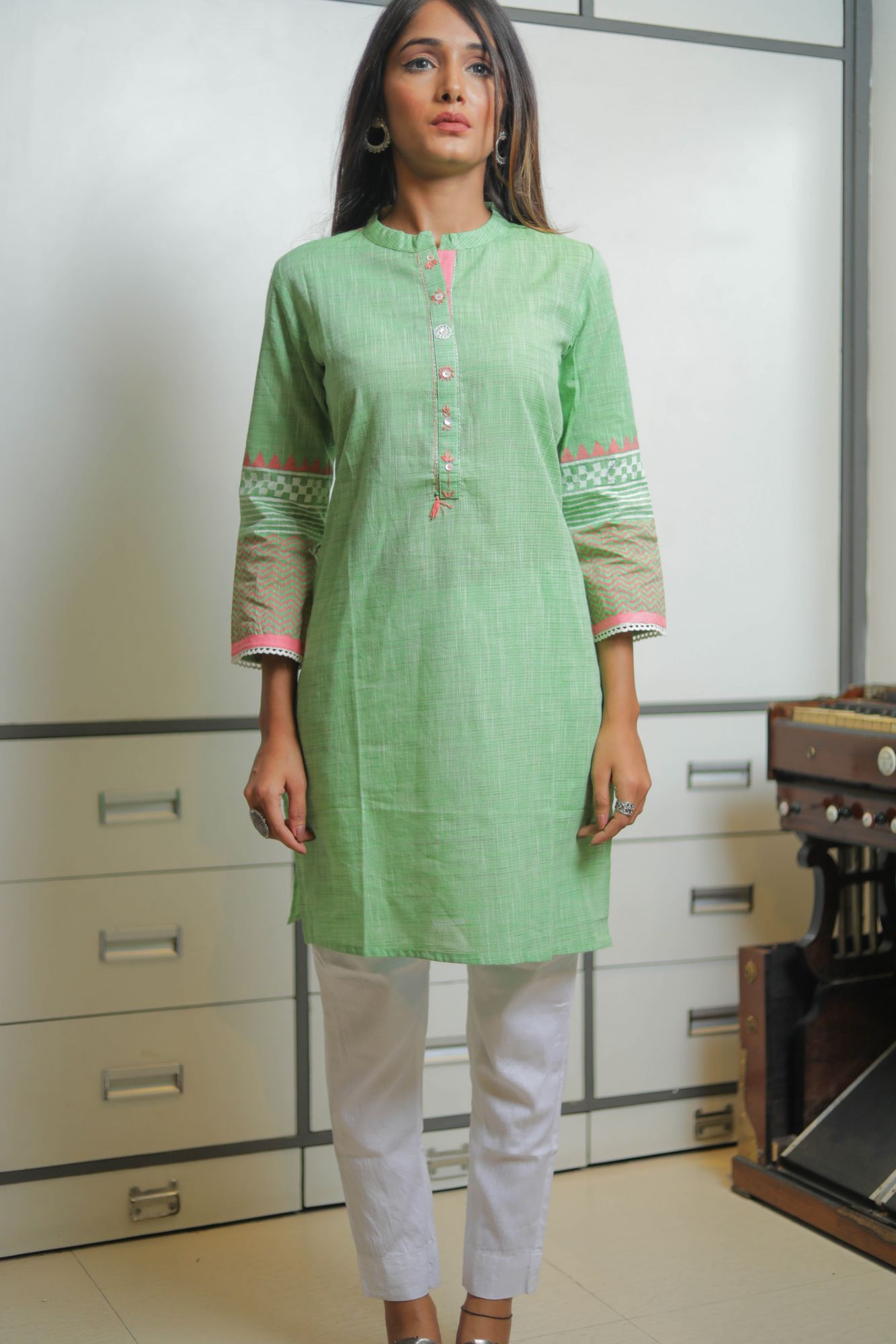 Celery Green Cotton Kurti