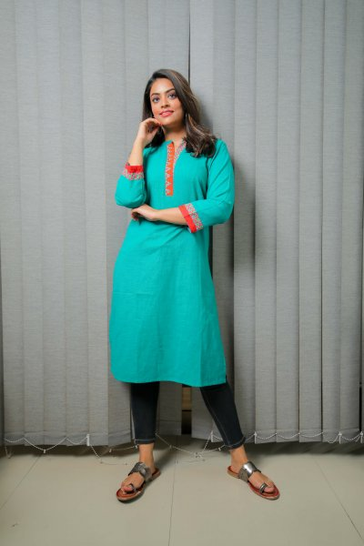 Jade Green Cotton Kurti