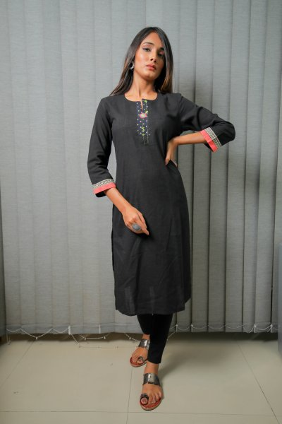Black Polka Dots Cotton Kurti