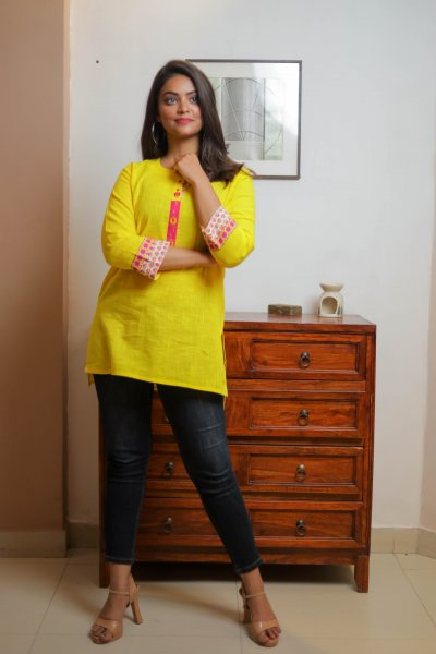 Yellow Pink Cotton Short Kurti