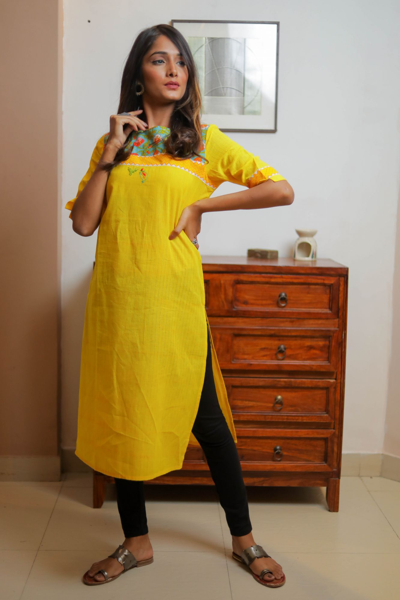 Yellow Blue Cotton Kurti