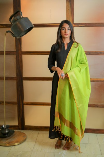 Smooth Green Chanderi Dupatta
