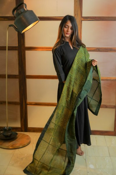 Darling GreenLime Chanderi Dupatta