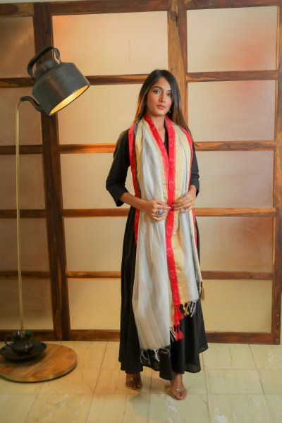 Fancy WhiteGrey Chanderi Dupatta