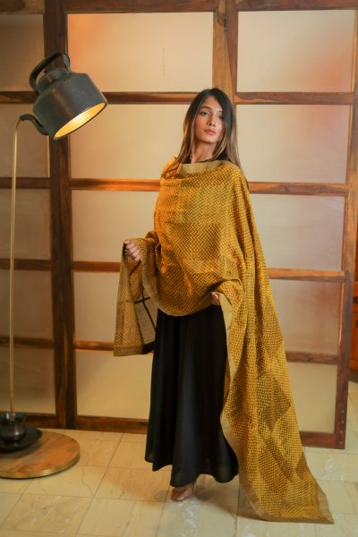 Sweet BrownYellow Chanderi Dupatta