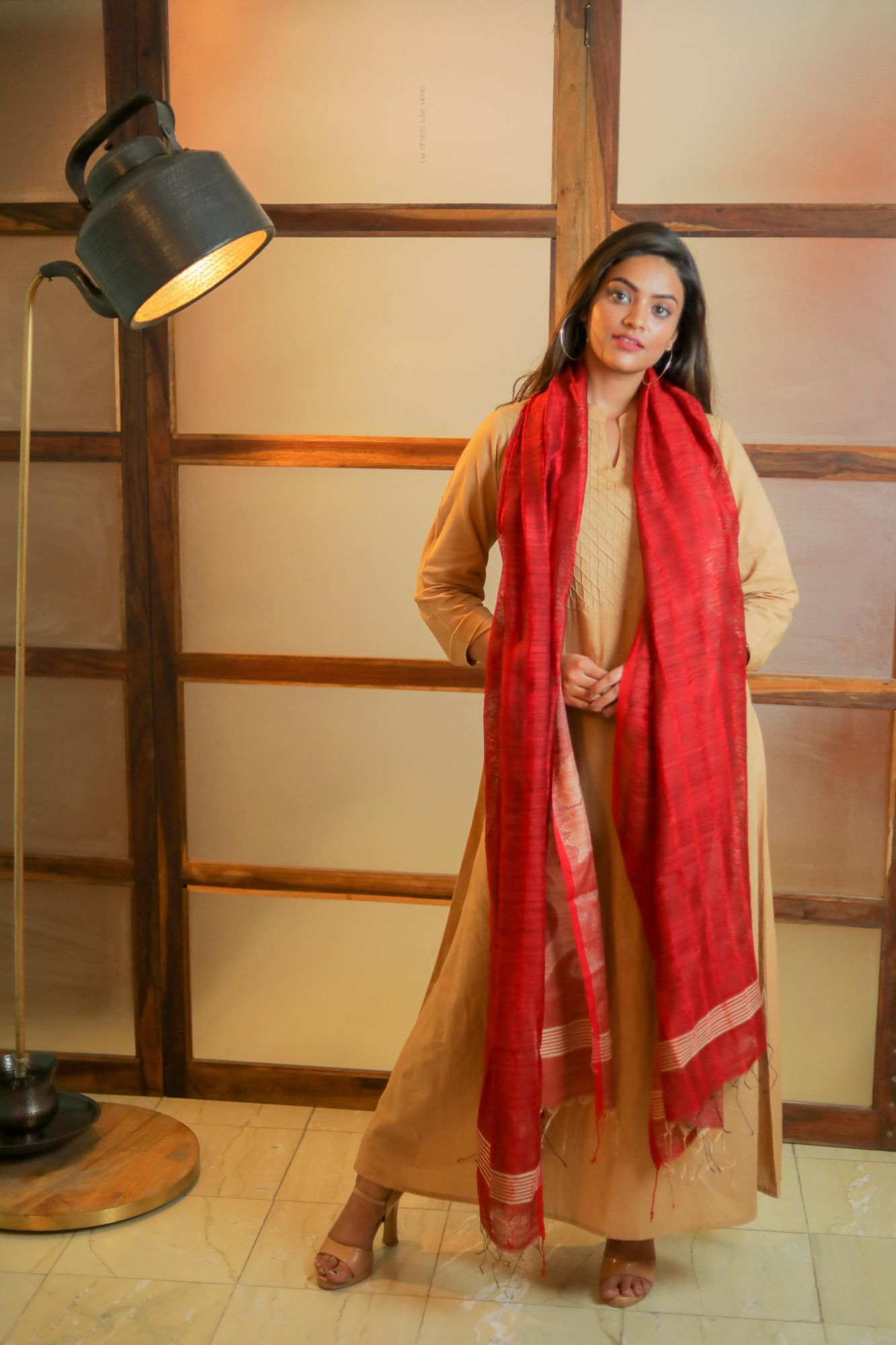 Smooth Red Chanderi Dupatta