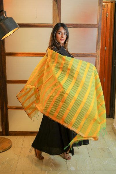 Bright YellowGreen Chanderi Dupatta