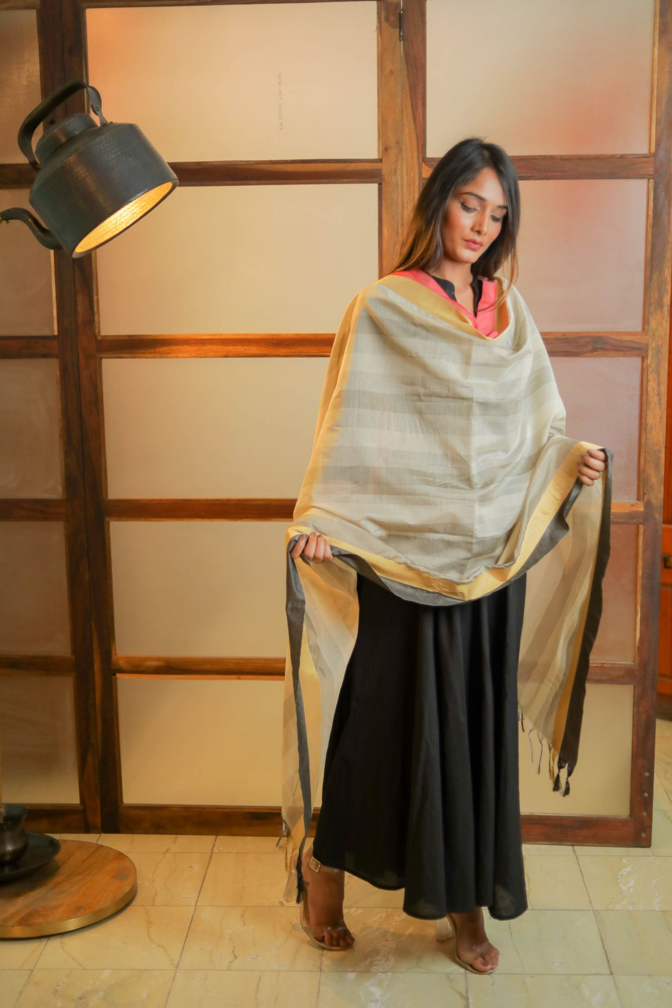 Pleasing BeigeGrey Chanderi Dupatta