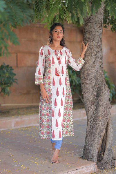 Allover Jaal White Cotton Kurta