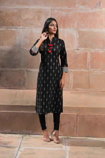 Black Kurti with Red Tassels