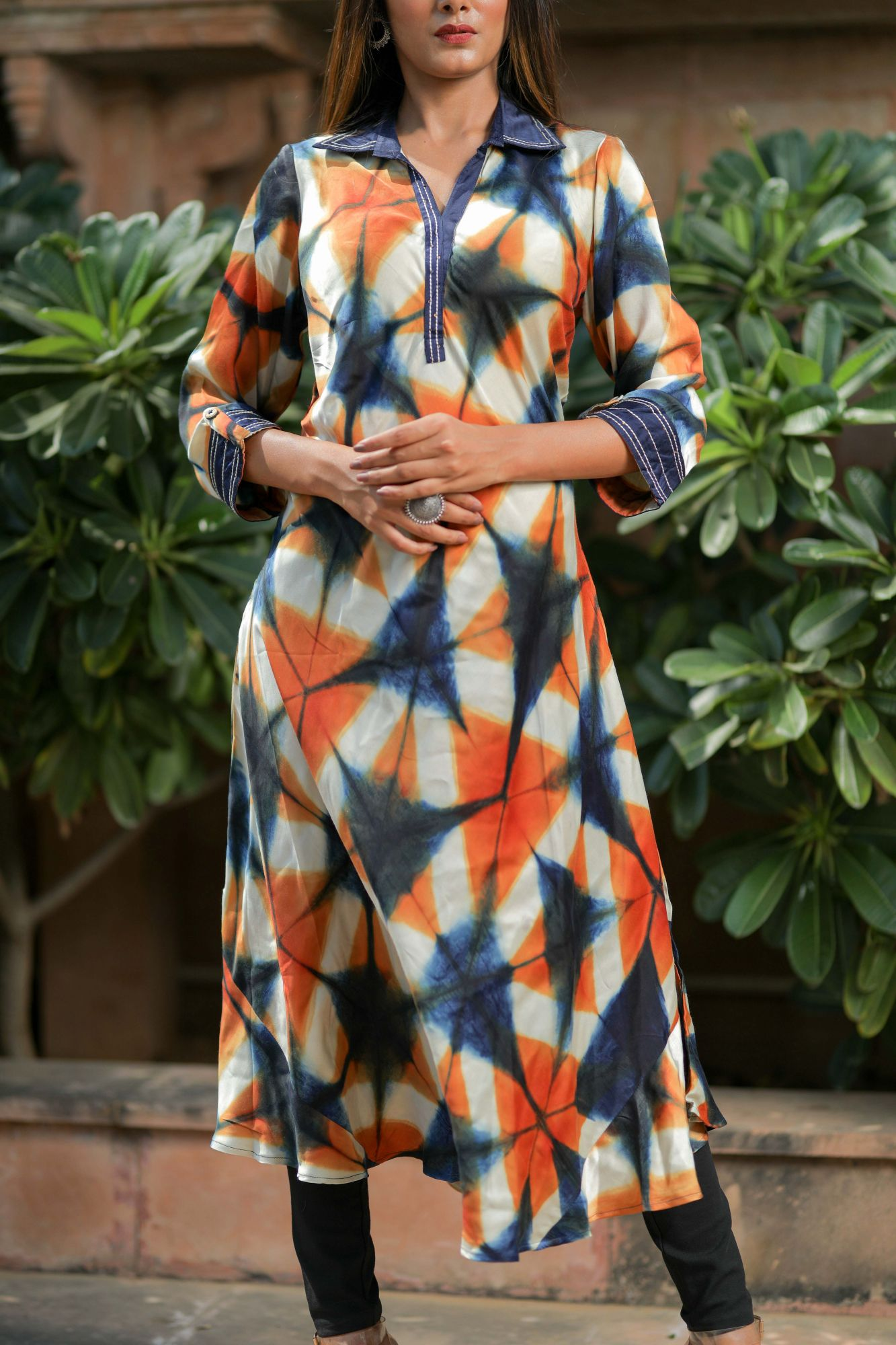 Blue Orange Modal Satin Kurta