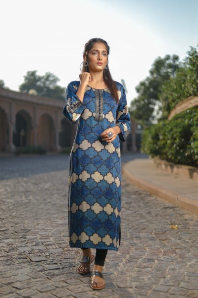 Bluecream Modal Satin Kurta