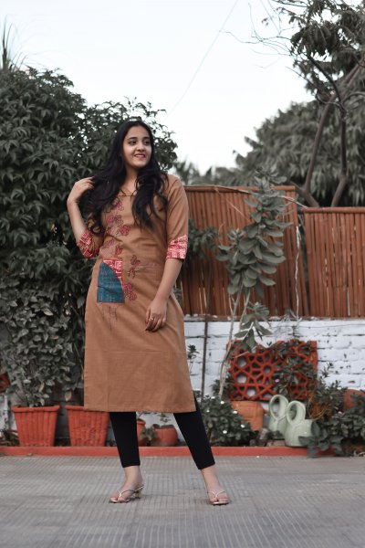 Brown Pink Embroidered Kurti