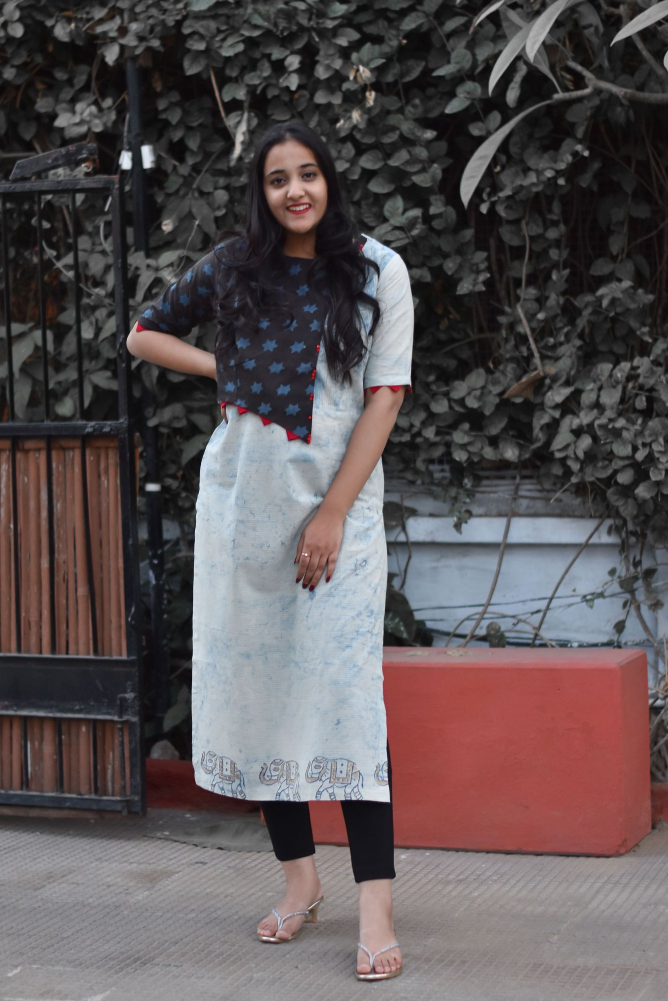 Star Blue Cotton Kurti