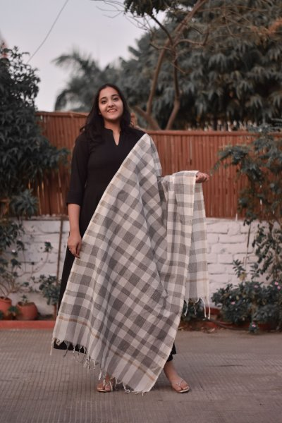 Black White Checks Dupatta