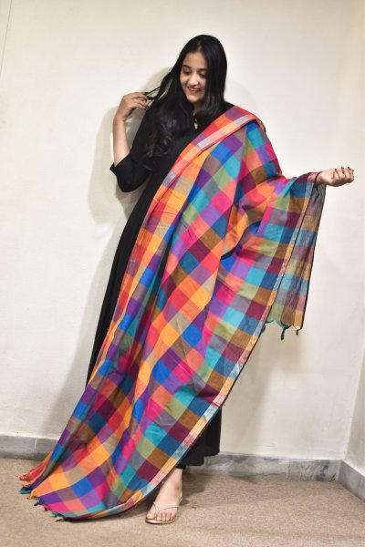 Multicolor Checks Dupatta