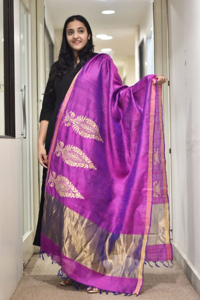 Purple Zari Silk Dupatta