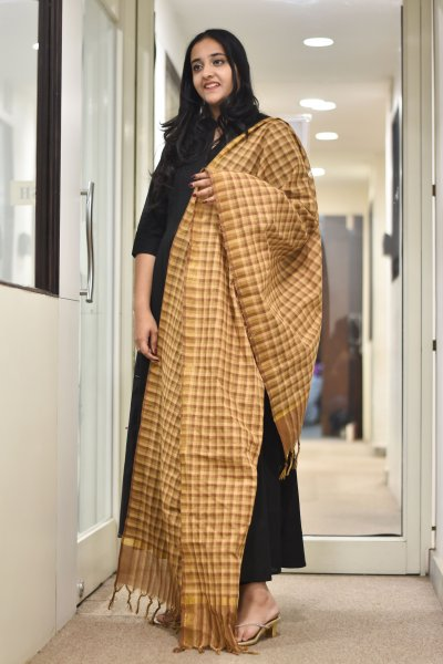 Brown Checks Dupatta