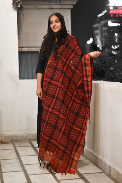 Red Black Checks Dupatta
