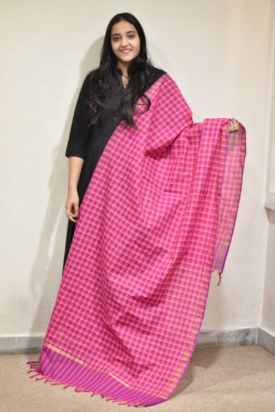Pink Checks Dupatta
