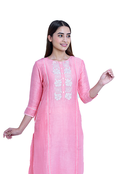 Light Pink Linen Applique work Kurta