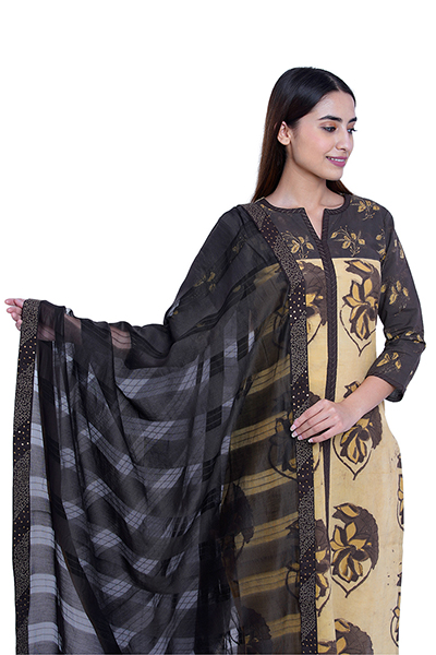 Brown Cotton Dabu work Kurta and Chanderi  work Dupatta
