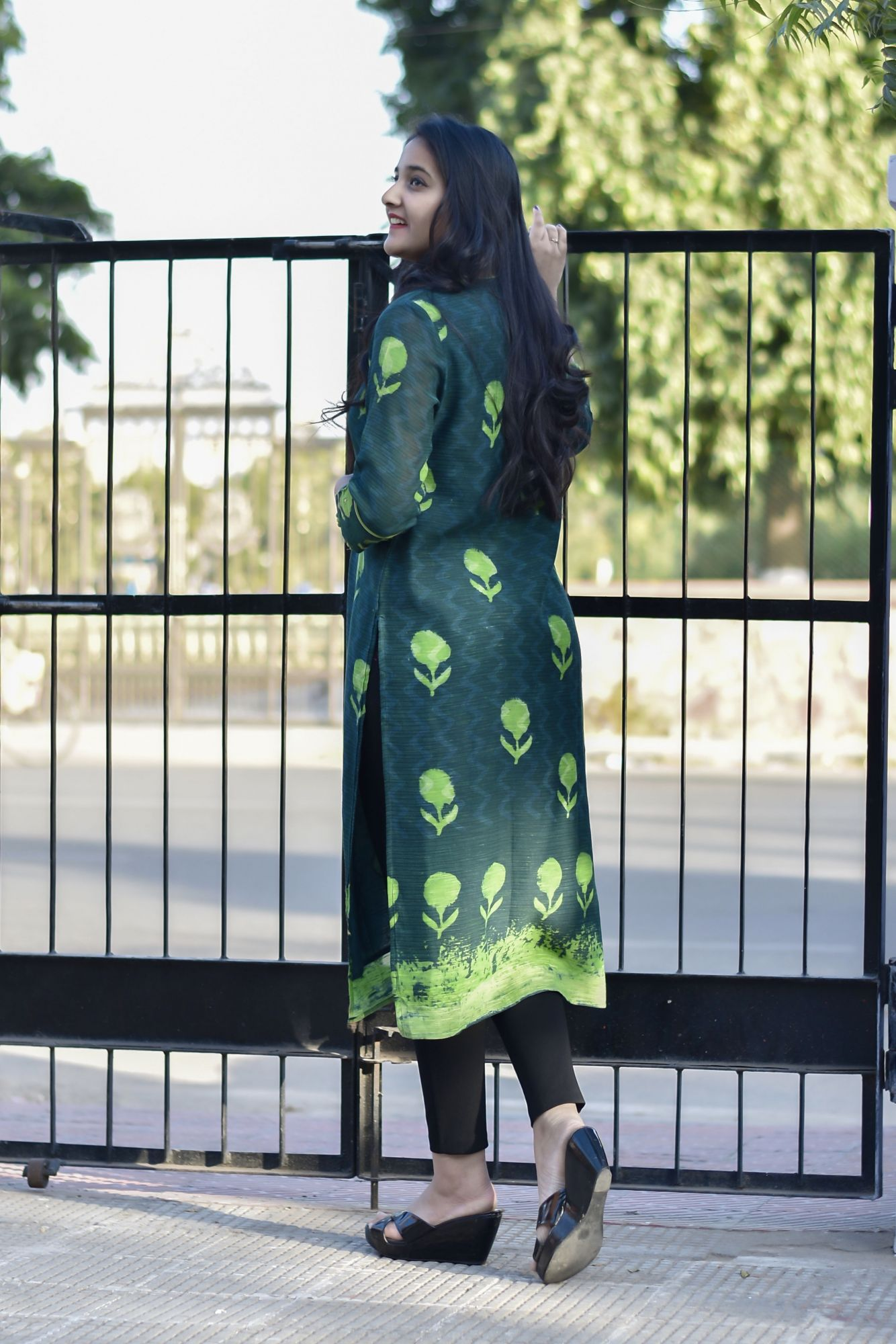 Dark Green Chanderi Kurti