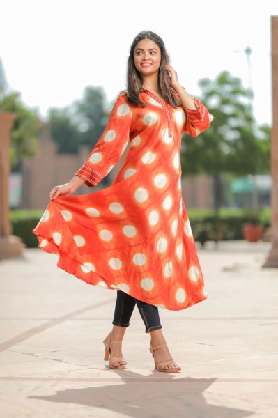 Orange White Modal Satin Kurta