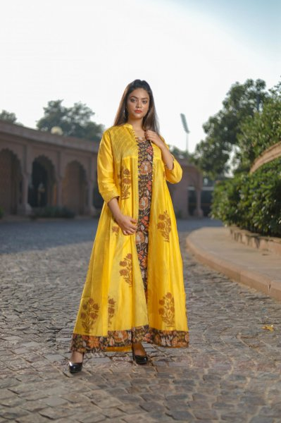 Yellow Brown Chanderi Double Layered Kurta